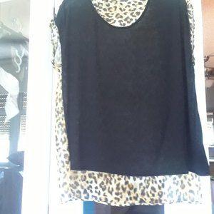 Ladies Top-Blk/Leopard